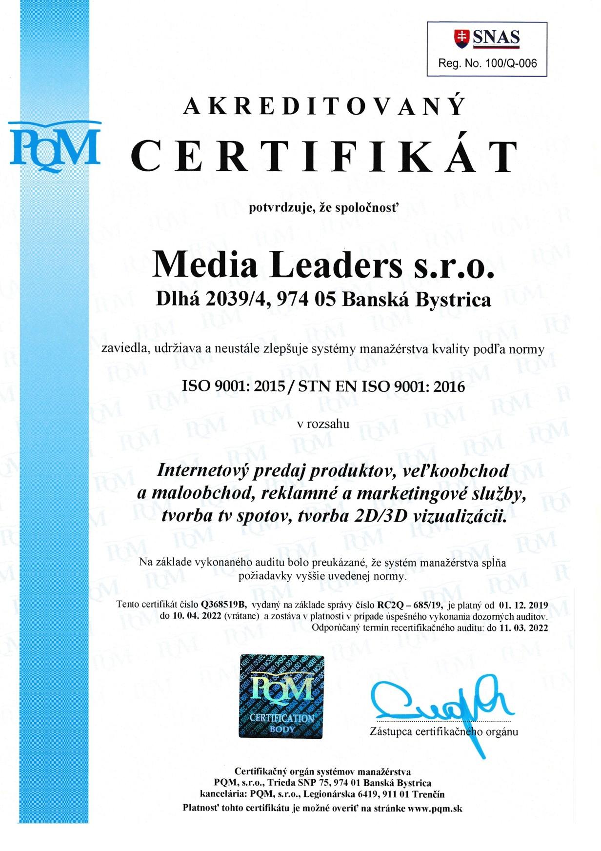 iso certifikát 9001:2008